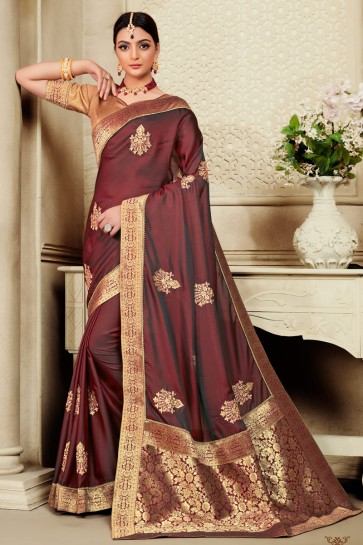 Lovely Coffee Embroidered And Jaquard Work Designer Silk Fabric Saree With Border Work Blouse