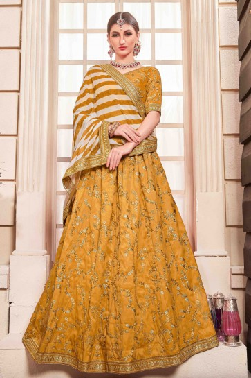Excellent Silk Mustard Embroidered And Hand Work Lehenga Choli And Dupatta