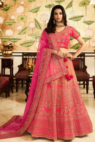 Graceful Pink Embroidered And Stone Work Silk Lehenga With Stone Work Blouse