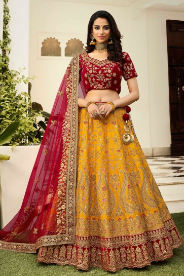 Excellent Silk Yellow Embroidered And Stone Work Lehenga Choli And Dupatta