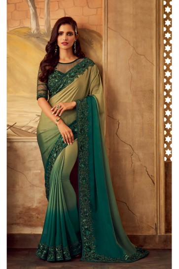 Green And Beige Border Work Designer Silk Fabric Saree And Blouse