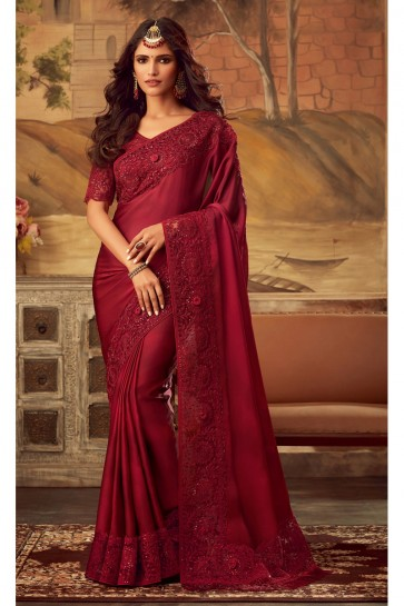 Party Wear Silk Fabric Red Border Work Designer Saree And Blouse