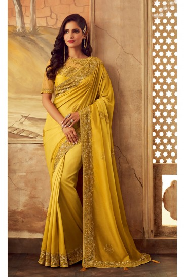 Border Work Designer Yellow Silk Fabric Classic Saree And Blouse