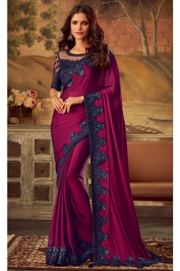 Gorgeous Violet Border Work Designer Silk Fabric Saree And Blouse