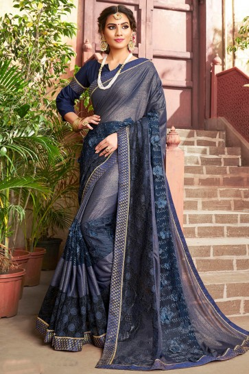 Embroidered Designer Navy Blue Lycra Fabric Saree And Blouse
