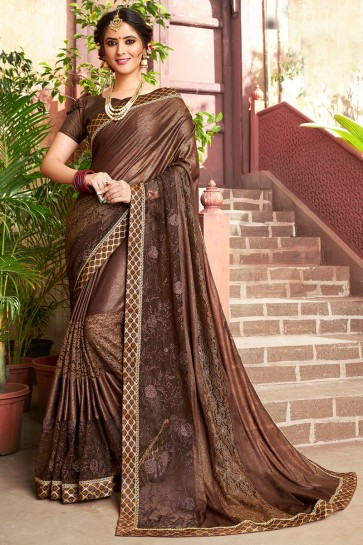 Supreme Brown Lycra Fabric Designer Embroidery Work Saree And Blouse