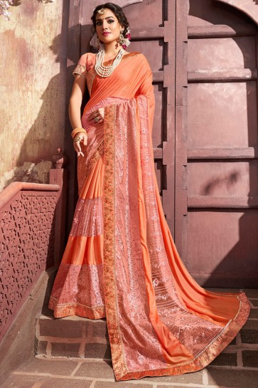 Party Wear Lycra Fabric Orange Embroidery Work Designer Saree And Blouse