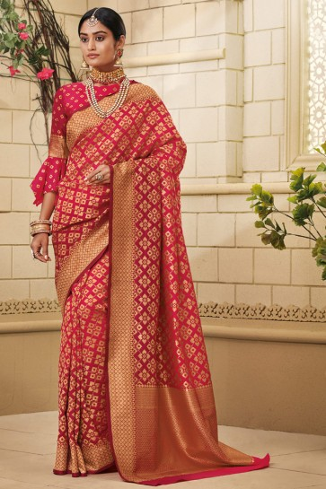 Delightful Silk Fabric Weaving Work And Jaquard Work Designer Pink Saree And Blouse