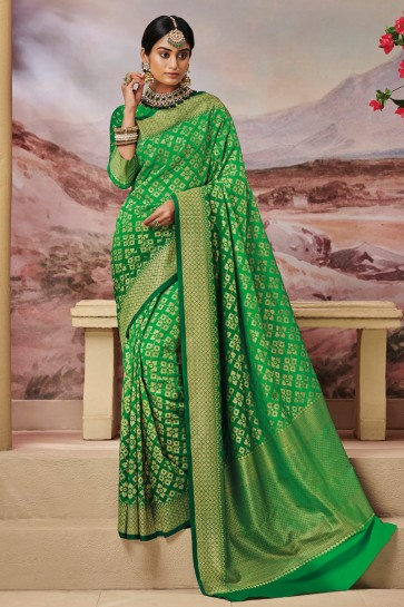 Graceful Green Silk Fabric Weaving Work And Jaquard Work Designer Saree And Blouse