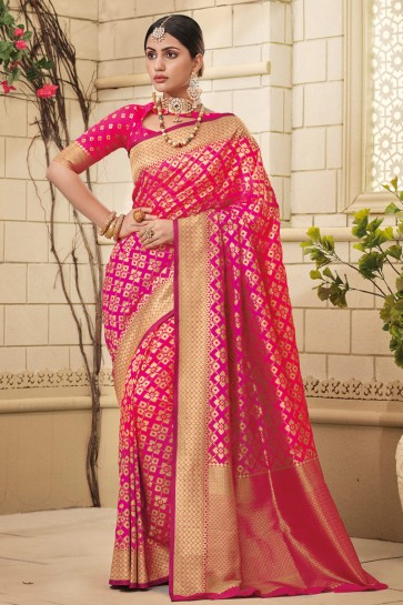 Pink Silk Fabric Weaving Work And Jaquard Work Designer Saree And Blouse