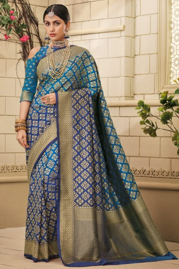 Awesome Blue Weaving Work And Jaquard Work Designer Silk Fabric Saree And Blouse