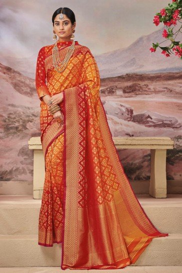 Dazzling Silk Fabric Orange Weaving Work And Jaquard Work Designer Saree And Blouse