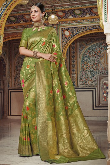 Weaving Work And Jaquard Work Designer Silk Fabric Green Saree And Blouse