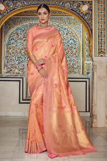 Stunning Weaving Work And Jaquard Work Designer Peach Silk Fabric Saree And Blouse
