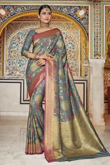 Party Wear Grey Weaving Work And Jaquard Work Designer Silk Fabric Saree And Blouse