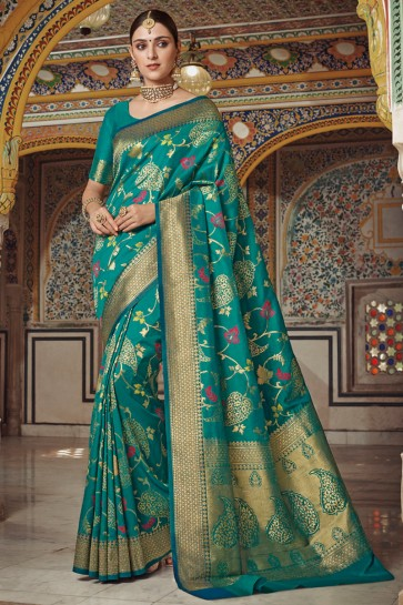 Green Silk Fabric Weaving Work And Jaquard Work Designer Saree And Blouse