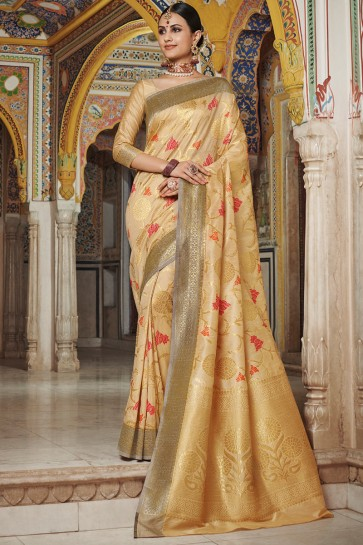 Awesome Beige Weaving Work And Jaquard Work Designer Silk Fabric Saree And Blouse