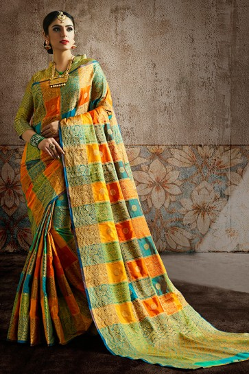 Silk Fabric Weaving Work And Jaquard Work Multi Color Designer Saree And Blouse