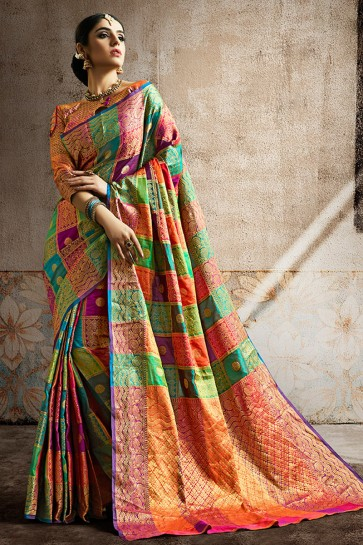 Multi Color Weaving Work And Jaquard Work Designer Silk Fabric Saree And Blouse