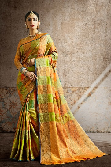 Stunning Weaving Work And Jaquard Work Designer Multi Color Silk Fabric Saree And Blouse