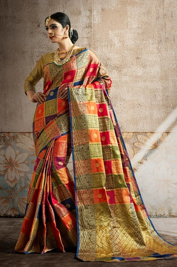 Party Wear Weaving Work And Jaquard Work Multi Color Silk Fabric Saree And Blouse