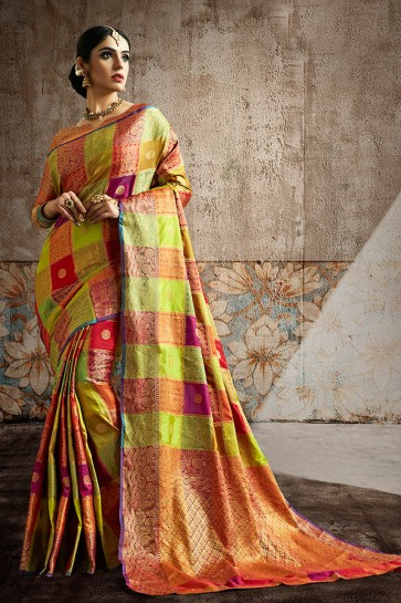 Multi Color Silk Fabric Weaving Work And Jaquard Work Designer Saree And Blouse