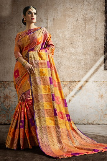 Awesome Multi Color Weaving Work And Jaquard Work Designer Silk Fabric Saree And Blouse