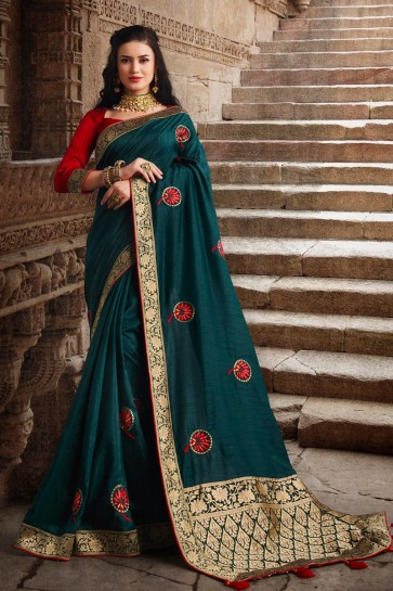 Silk Fabric Teal Weaving Work And Embroidered Designer Saree And Blouse