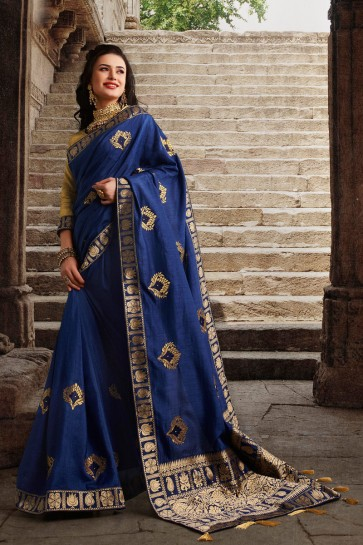 Blue Silk Fabric Weaving Work And Embroidered Designer Saree And Blouse