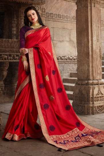 Awesome Red Weaving Work And Embroidered Designer Silk Fabric Saree And Blouse