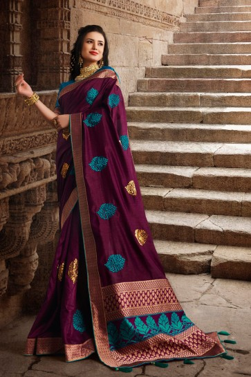 Dazzling Silk Fabric Violet Weaving Work And Embroidered Designer Saree And Blouse