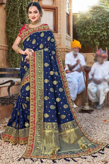 Excellent Weaving Silk Fabric Navy Blue Embroidered And Stone Work Saree And Blouse