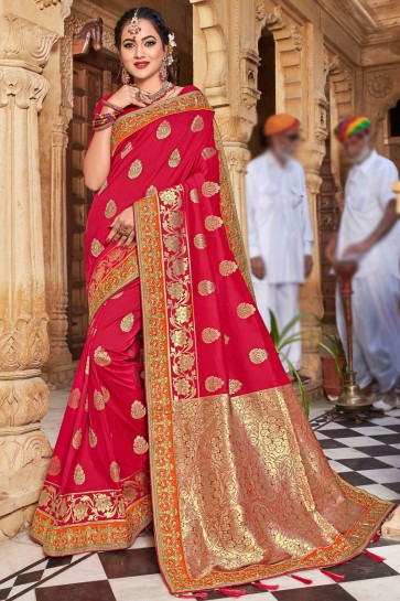 Desirable Weaving Silk Fabric Red Stone Work And Weaving Work Saree And Blouse