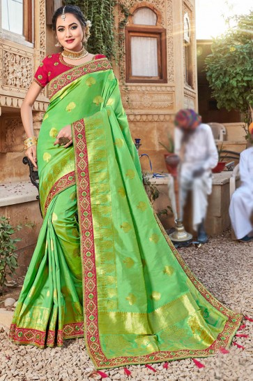 Light Green Stone Work And Weaving Work Weaving Silk Fabric Saree And Blouse