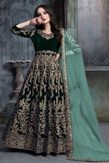 Beautiful Green Embroidered And Stone Work Designer Velvet Anarkali Suit With Net Dupatta