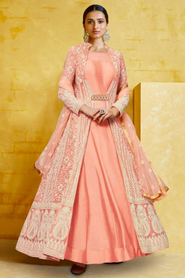 Embroidered Peach Georgette Fabric Abaya Style Anarkali Suit With Net Dupatta