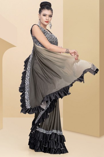 Delightful Grey Lycra Fabric Thread Work And Sequins Work Flare Saree With Velvet Blouse