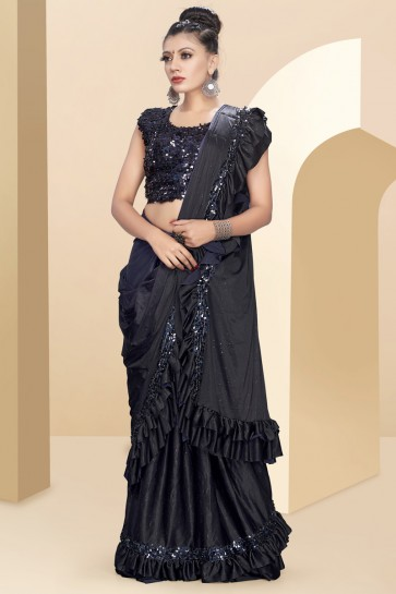 Lycra Fabric Black Sequins And Thread Work Designer Flare Saree With Art Silk Blouse