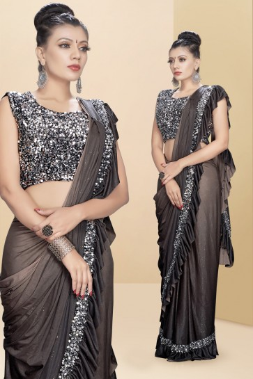 Charcoal Sequins And Thread Work Lycra Fabric Flare Designer Saree With Art Silk Blouse