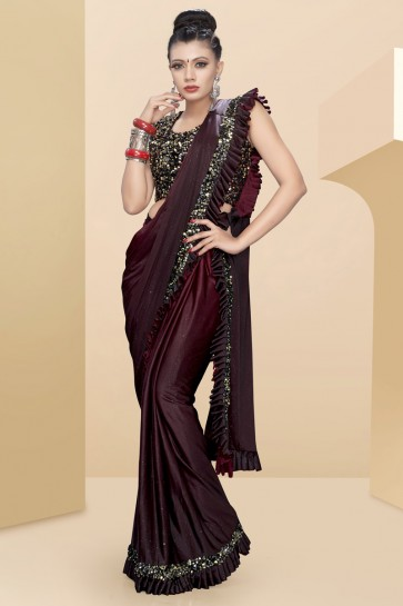 Sequins Work And Thread Work Maroon Lycra Fabric Flare Designer Saree With Art Silk Blouse