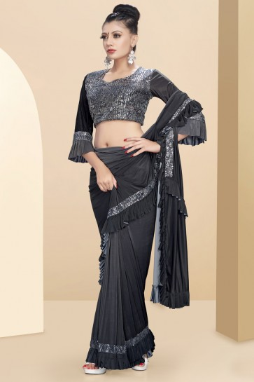 Heavy Designer Grey Lycra Fabric Thread And Sequins Work Flare Saree With Art Silk Blouse