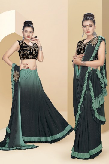 Green Sequins And Thread Work Lycra Fabric Flare Designer Saree With Velvet Blouse