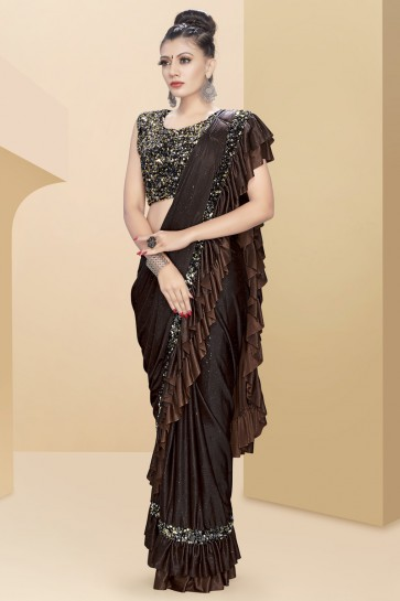 Optimum Lycra Fabric Thread And Sequins Work Coffee Flare Saree With Art Silk Blouse