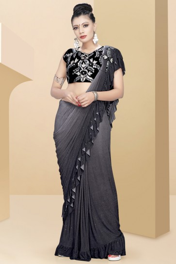 Splendid Grey Sequins Work And Thread Work Lycra Fabric Flare Saree With Velvet Blouse