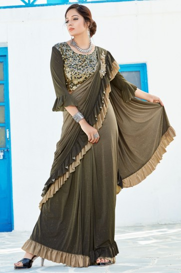 Mehendi Green Lycra Fabric Thread Work And Sequins Work Flare Saree And Blouse