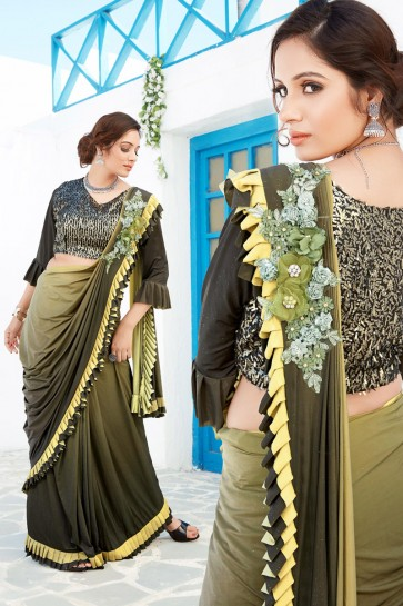 Sequins And Thread Work Mehendi Green Lycra Fabric Flare Designer Saree And Blouse