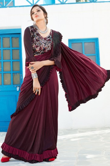 Thread Work And Sequins Work Maroon Lycra Fabric Flare Designer Saree And Blouse