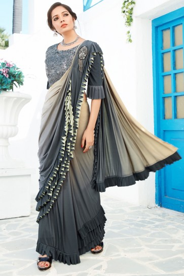 Party Wear Grey Lycra Fabric Thread And Sequins Work Designer Flare Saree And Blouse