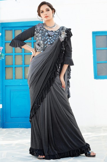 Black And Grey Lycra Fabric Sequins And Thread Work Designer Flare Saree And Blouse
