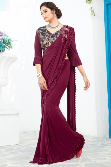 Heavy Designer Magenta Lycra Fabric Thread And Sequins Work Flare Saree And Blouse
